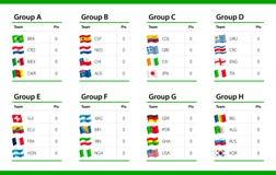 Flaggor för fotbollmästerskap 2014 - tabell stock illustrationer