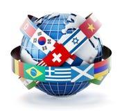 Flaggor för internationellt land på jordklotet royaltyfri illustrationer