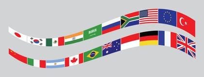 Flaggor för länder G20 eller flaggor av världen stock illustrationer