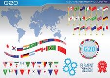 Flaggor för länder G20 eller flaggor av världsbeståndsdelen planlägger royaltyfri illustrationer