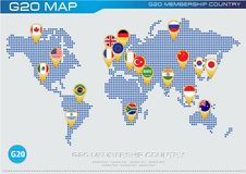Flaggor för land G20 stock illustrationer
