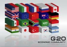 Flaggor för land G20 med den prickiga världskartan eller flaggor av världen (den ekonomiska flaggan för landet G20) Arkivbilder