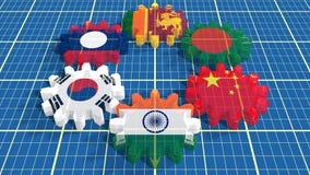 Flaggor för medlemmar för Asia Pacific handelöverenskommelse på kugghjul Arkivbild