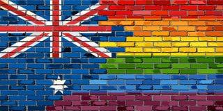 Flaggor för tegelstenvägg Australien och bög Arkivbild