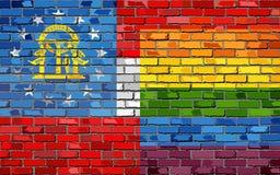 Flaggor för tegelstenvägg Georgia och bög- illustration Royaltyfri Fotografi