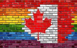 Flaggor för tegelstenvägg Kanada och bög Arkivbild