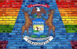 Flaggor för tegelstenvägg Michigan och bög Royaltyfri Bild