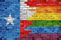 Flaggor för tegelstenvägg Texas och bög Arkivbilder