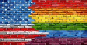 Flaggor för tegelstenvägg USA och bög Royaltyfri Foto