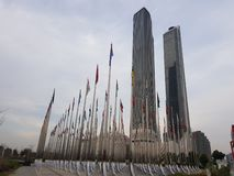 Flaggor flaggaflaggor på Nanjing arkivfoto