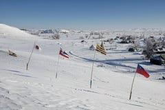 Flaggor flyger på det Oceti Sakowin lägret med sköldpaddakullen i bakgrund, kanonbollen, North Dakota, USA, Januari 2017 arkivbilder