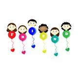 Flaggor för ballonger för barn för kamratskapdagtitel Royaltyfria Foton