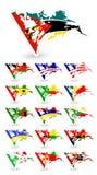 Flaggor för dåligt villkor av Afrika 3 Arkivfoto