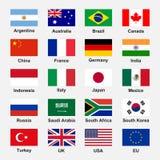 Flaggor G-20 stock illustrationer