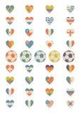 Flaggor i form av hjärta royaltyfria bilder