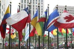 Flaggor i New York royaltyfri foto