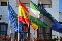 Flaggor i Spanien Royaltyfria Bilder