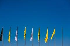 Flaggor mot den blåa himlen Royaltyfri Bild
