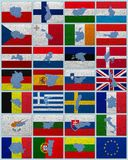 Flaggor och översikter av Europeiska union Royaltyfria Foton