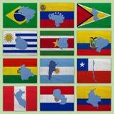 Flaggor och översikter av South America länder Arkivfoton