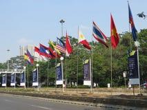 Flaggor och baner i Jakarta Royaltyfria Bilder