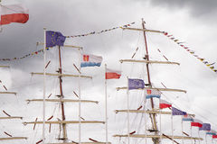 Flaggor och en mast Royaltyfri Fotografi