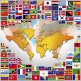 Flaggor och världskarta Arkivbilder