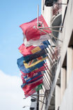 Flaggor på en byggnad Royaltyfria Bilder