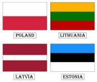 Flaggor: Polen Litauen, Lettland, Estland. Arkivfoton
