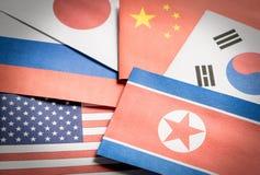 Flaggor som göras från papper Arkivfoto