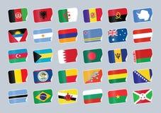 flaggor ställde in världen vektor illustrationer
