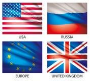 flaggor 1 ställde in världen Arkivfoton