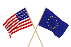 Flaggor USA och EU Isolerad illustration 3d Royaltyfri Bild