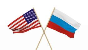 Flaggor USA och Ryssland isolerade 3d framför stock video