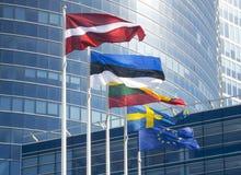 Flaggorna av de baltiska länderna Royaltyfri Bild