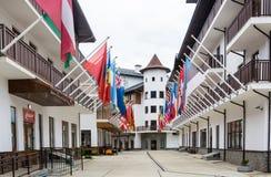 Flaggorna av länderna som in deltar i olympiska spel Royaltyfria Bilder