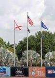 Flaggorna på Hammond Stadium Arkivbild