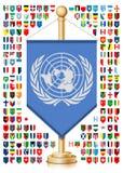 Flaggstång med världsflaggor stock illustrationer