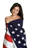 flagi amerykańskiej kobiety Zdjęcia Stock