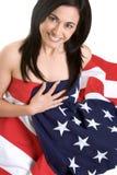 flagi amerykańskiej dziewczynie Obraz Stock