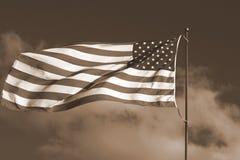 flagi amerykańskiej sepiowy ton Obrazy Royalty Free