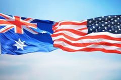 Flagi Australia i usa obraz royalty free
