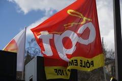 Flagi Francuski Confédération générale Du Kłopoty, CGT zdjęcia royalty free