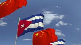 Flagi Kuba i Chiny przeciw niebieskiemu niebu, loopable 3D animacja royalty ilustracja