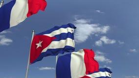 Flagi Kuba i Francja przeciw niebieskiemu niebu, loopable 3D animacja royalty ilustracja