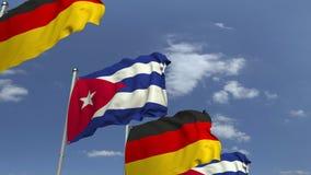 Flagi Kuba i Niemcy przeciw niebieskiemu niebu, loopable 3D animacja ilustracja wektor