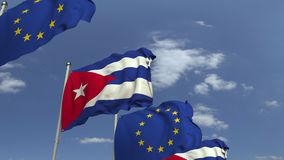 Flagi Kuba i unia europejska przeciw niebieskiemu niebu, loopable 3D animacja zdjęcie wideo