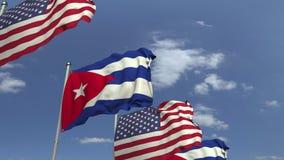 Flagi Kuba i usa przeciw niebieskiemu niebu, loopable 3D animacja royalty ilustracja