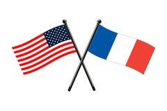 Flagi państowowe francuz i Usa krzyżowali na kijach ilustracja wektor