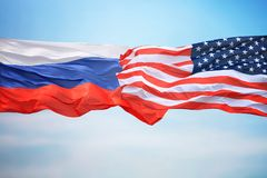 Flagi Rosja i usa fotografia royalty free